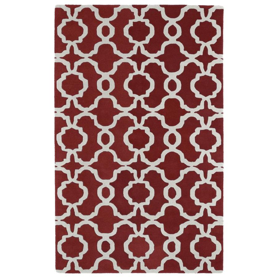 Kaleen Revolution Red Rectangular Indoor Handcrafted Novelty Area Rug (Common: 5 x 8; Actual: 5-ft W x 7.75-ft L)
