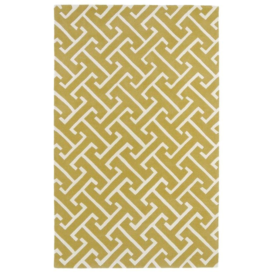 Kaleen Revolution Yellow Indoor Handcrafted Novelty Area Rug (Common: 10 x 13; Actual: 9.5-ft W x 13-ft L)
