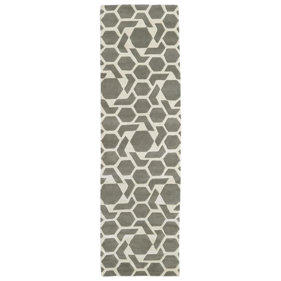 Kaleen Revolution Grey Rectangular Indoor Handcrafted Novelty Runner (Common: 2 x 8; Actual: 2.25-ft W x 8-ft L)