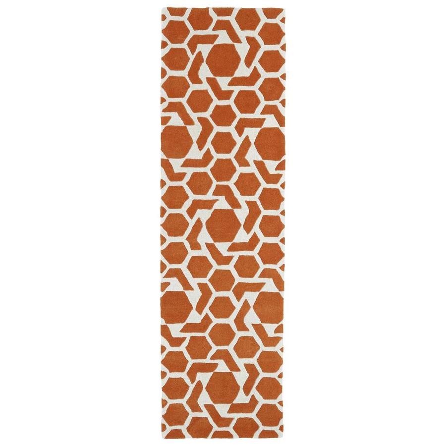 Kaleen Revolution Orange Rectangular Indoor Handcrafted Novelty Runner (Common: 2 x 8; Actual: 2.25-ft W x 8-ft L)