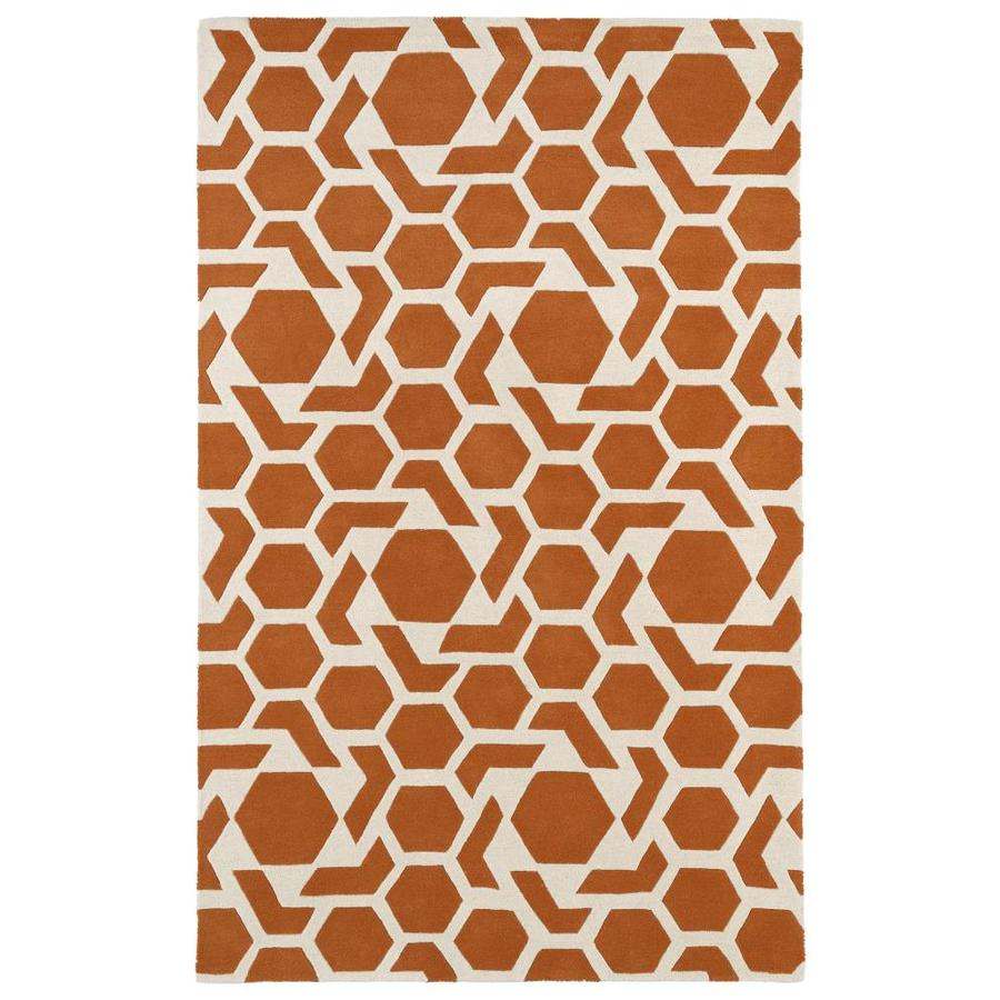 Kaleen Revolution Orange Rectangular Indoor Handcrafted Novelty Area Rug (Common: 5 x 8; Actual: 5-ft W x 7.75-ft L)