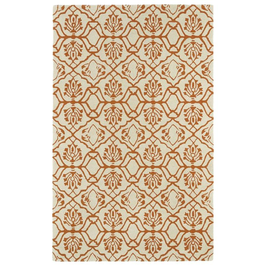 Kaleen Evolution Orange Rectangular Indoor Handcrafted Throw Rug (Common: 3 x 5; Actual: 3-ft W x 5-ft L)