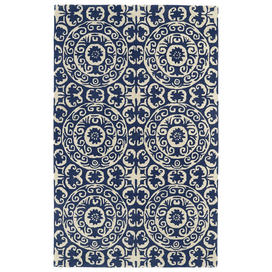 Kaleen Evolution Navy Rectangular Indoor Handcrafted Nature Area Rug (Common: 5 x 7; Actual: 5-ft W x 7.75-ft L)