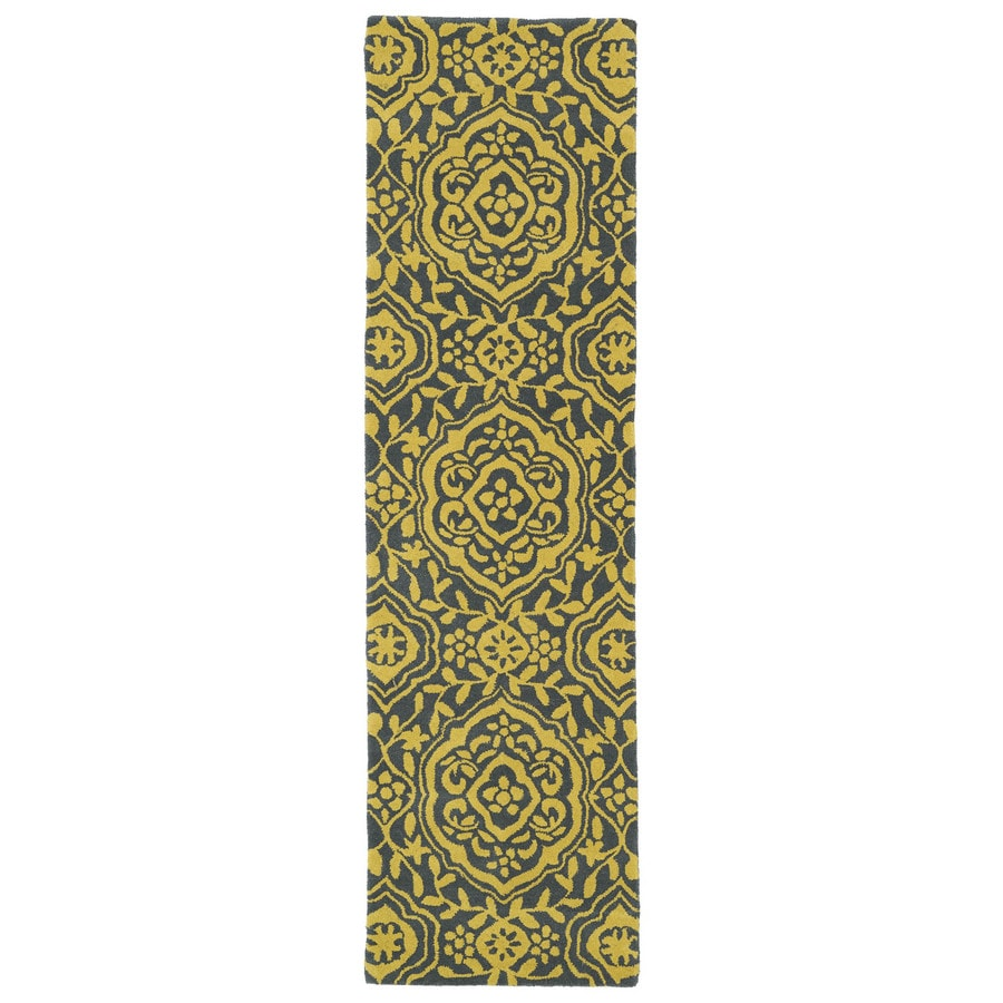Kaleen Evolution Yellow Rectangular Indoor Handcrafted Nature Runner (Common: 2X8; Actual: 2.25-ft W x 8-ft L)