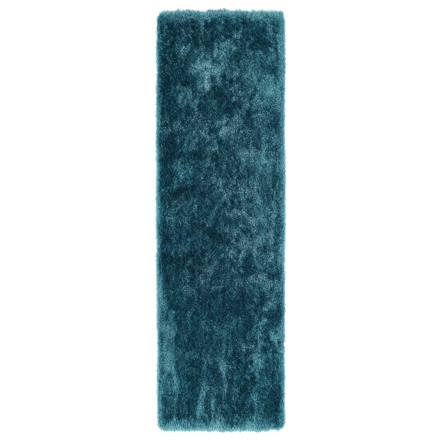 Kaleen Posh Teal Rectangular Indoor Handcrafted Novelty Runner (Common: 2 x 8; Actual: 2.25-ft W x 8-ft L)