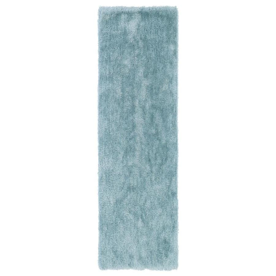 Kaleen Posh Light Blue Indoor Handcrafted Novelty Runner (Common: 2 x 8; Actual: 2.25-ft W x 8-ft L)