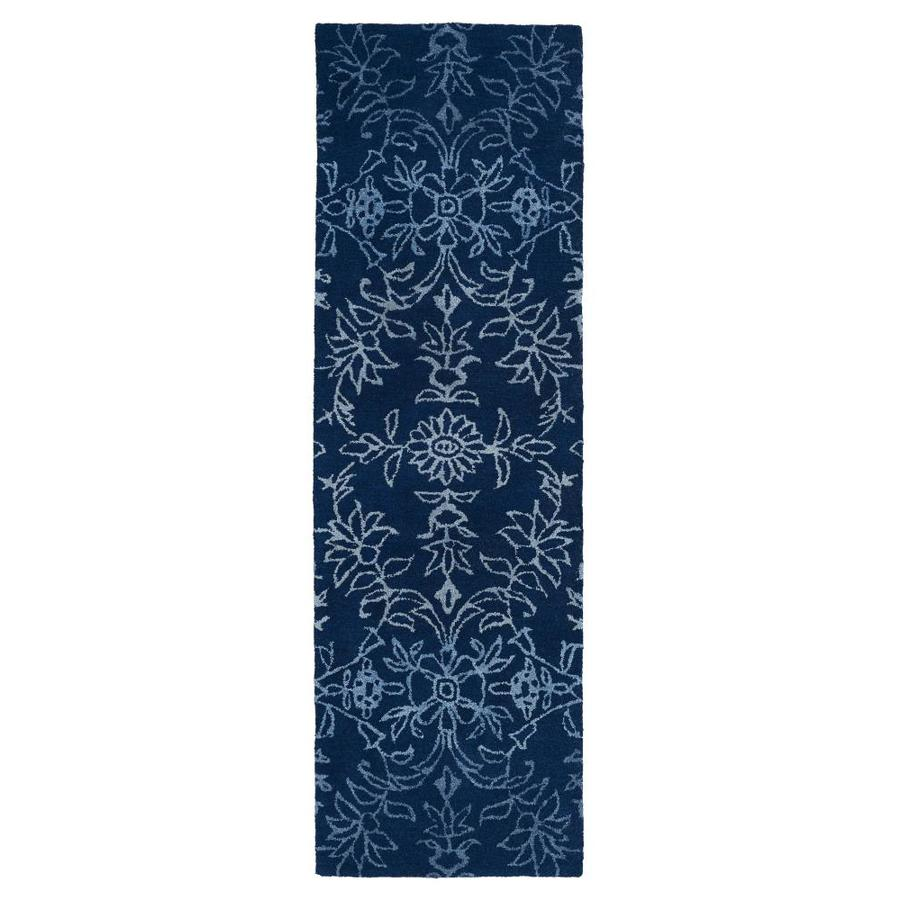 Kaleen Divine Blue Rectangular Indoor Handcrafted Nature Runner (Common: 3 X 8; Actual: 2.5-ft W x 8-ft L)