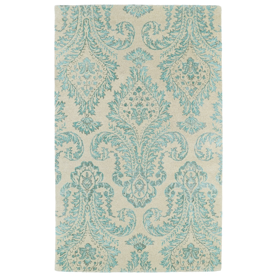 Kaleen Divine Turquoise Rectangular Indoor Handcrafted Distressed Area Rug (Common: 4 x 6; Actual: 3.5-ft W x 5.5-ft L)