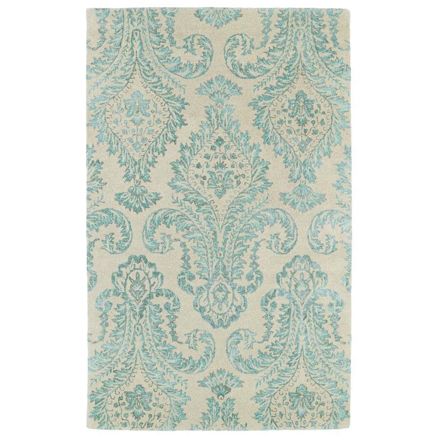 Kaleen Divine Turquoise Rectangular Indoor Handcrafted Oriental Area Rug (Common: 10 X 13; Actual: 9.5-ft W x 13-ft L)