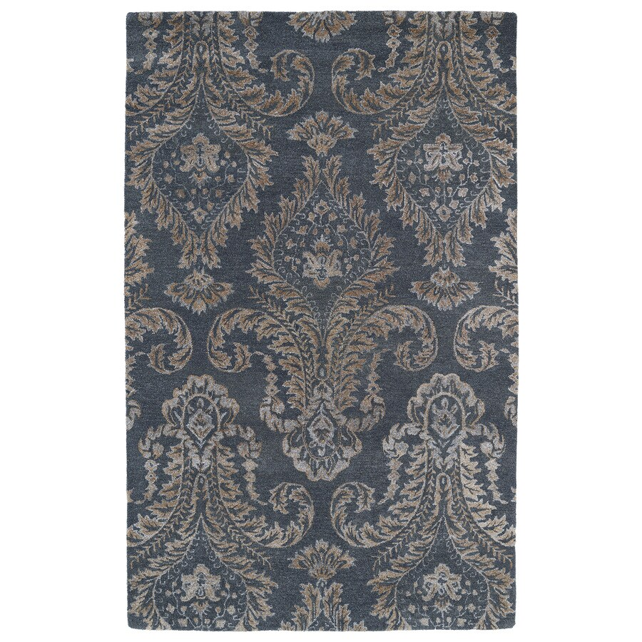 Kaleen Divine Grey Rectangular Indoor Tufted Distressed Area Rug (Common: 5 x 8; Actual: 60-in W x 93-in L)