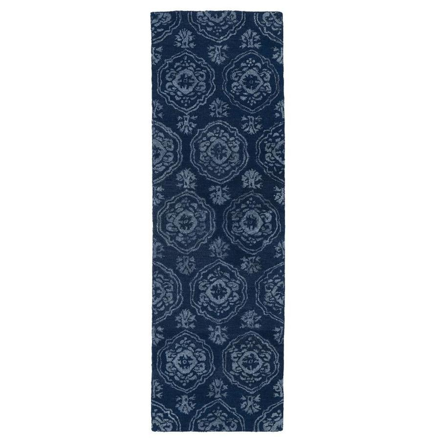 Kaleen Divine Navy Rectangular Indoor Handcrafted Oriental Runner (Common: 2 x 8; Actual: 2.5-ft W x 8-ft L)
