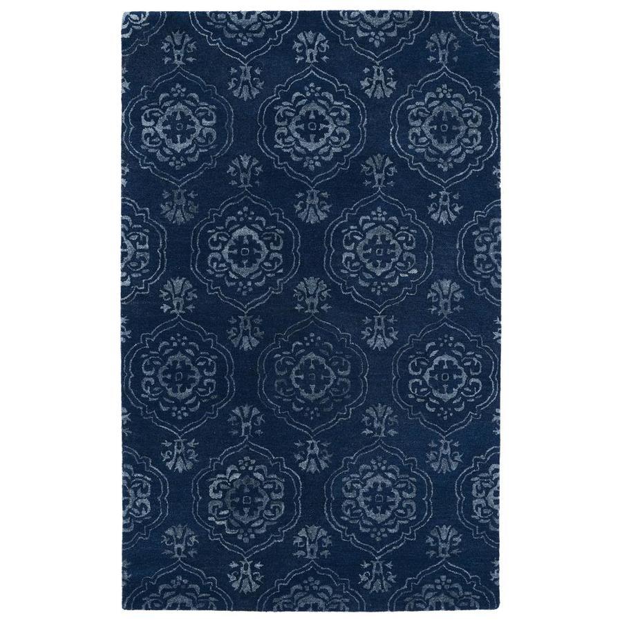 Kaleen Divine Navy Rectangular Indoor Handcrafted Oriental Area Rug (Common: 4 x 6; Actual: 3.5-ft W x 5.5-ft L)