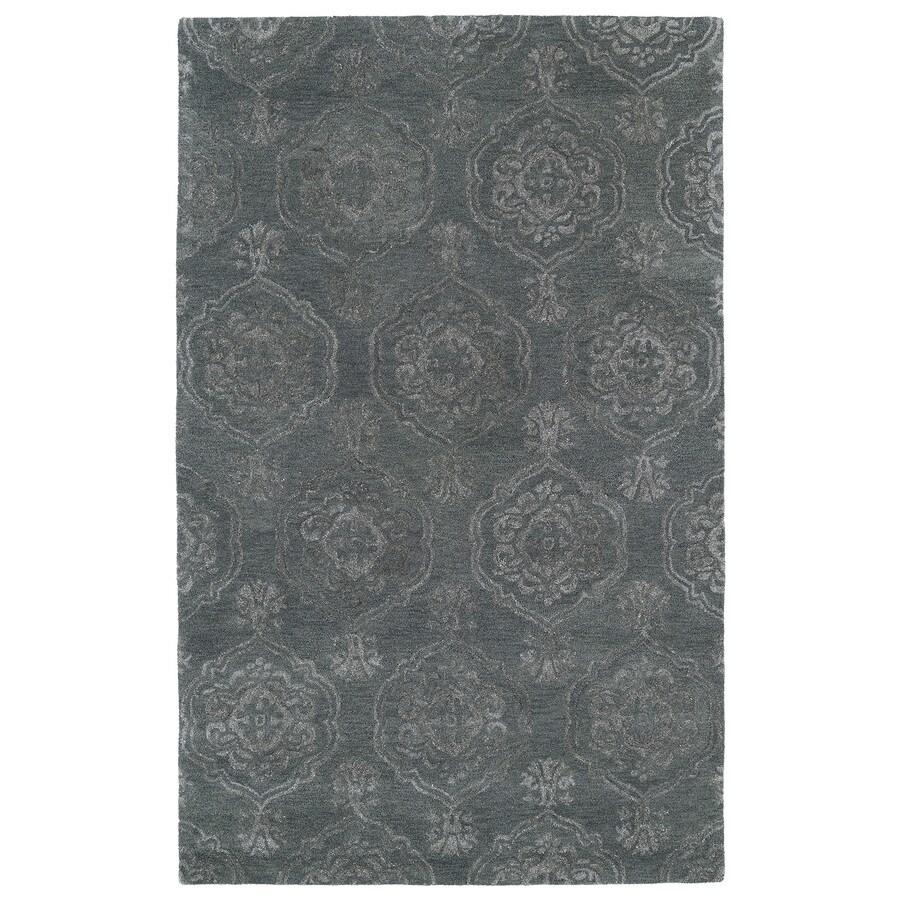 Kaleen Divine Pewter Green Rectangular Indoor Handcrafted Distressed Area Rug (Common: 5 x 7; Actual: 5-ft W x 7.75-ft L)
