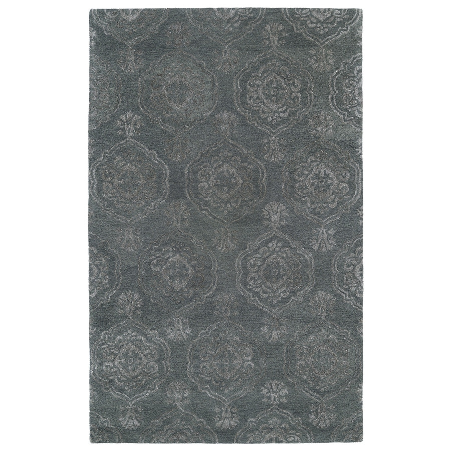Kaleen Divine Pewter green Rectangular Indoor Handcrafted Distressed Area Rug (Common: 8 x 11; Actual: 8-ft W x 11-ft L)