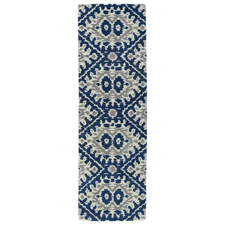 Kaleen Global Inspiration Blue Rectangular Indoor Handcrafted Southwestern Runner (Common: 2 x 8; Actual: 2.5-ft W x 8-ft L)