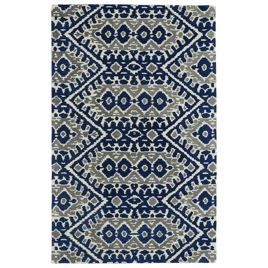 Kaleen Global Inspiration Blue Rectangular Indoor Handcrafted Southwestern Area Rug (Common: 5 x 7; Actual: 5-ft W x 7.75-ft L)