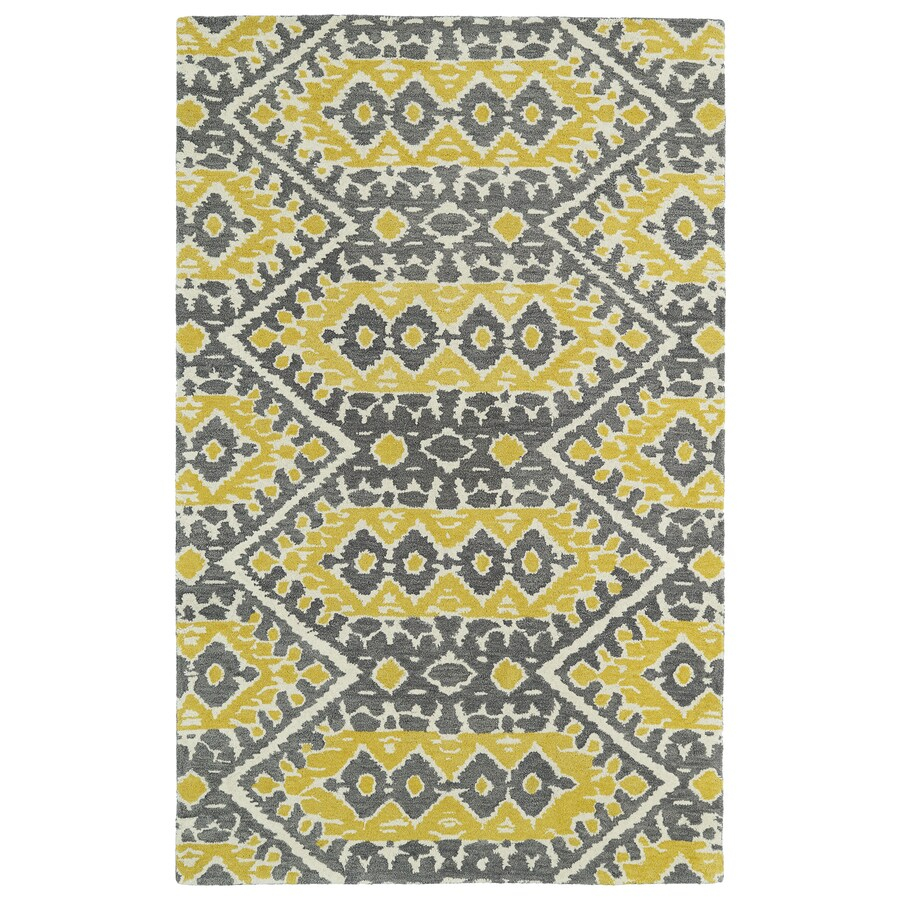 Kaleen Global Inspiration Yellow Rectangular Indoor Tufted Southwestern Area Rug (Common: 4 x 6; Actual: 3.5-ft W x 5.5-ft L)