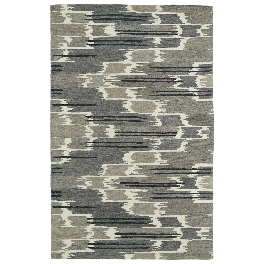 Kaleen Global Inspiration Grey Rectangular Indoor Handcrafted Distressed Area Rug (Common: 5 x 7; Actual: 5-ft W x 7.75-ft L)