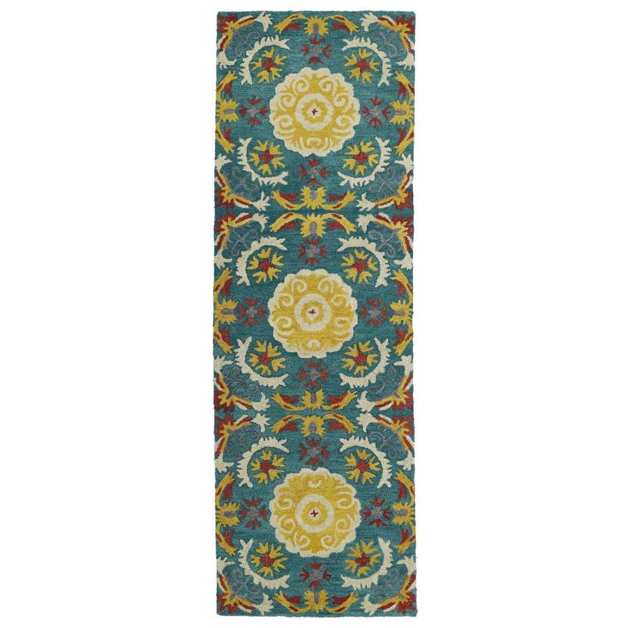 Kaleen Global Inspiration Turquoise Indoor Handcrafted Southwestern Runner (Common: 2 x 8; Actual: 2.5-ft W x 8-ft L)
