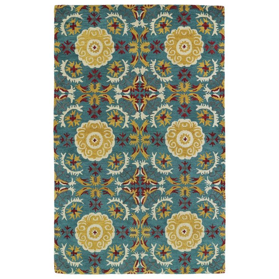 Kaleen Global Inspiration Turquoise Indoor Handcrafted Southwestern Area Rug (Common: 4 x 6; Actual: 3.5-ft W x 5.5-ft L)