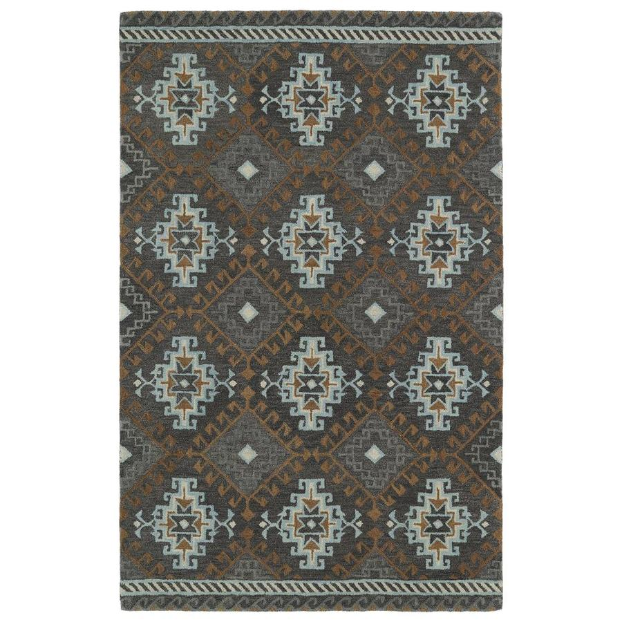 Kaleen Global Inspiration Grey Indoor Handcrafted Southwestern Area Rug (Common: 4 x 6; Actual: 3.5-ft W x 5.5-ft L)