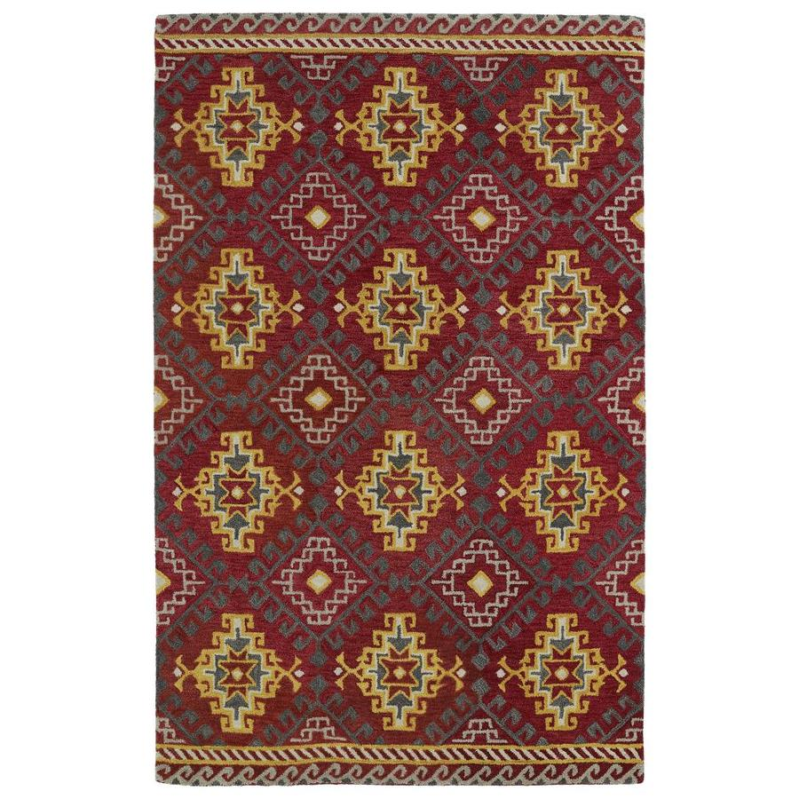 Kaleen Global Inspiration Red Rectangular Indoor Handcrafted Southwestern Area Rug (Common: 9 x 12; Actual: 9-ft W x 12-ft L)