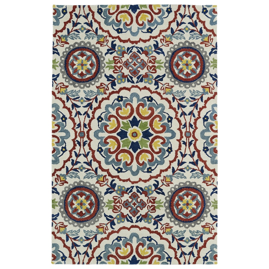 Kaleen Global inspiration Ivory Indoor Handcrafted Oriental Area Rug (Common: 4 x 6; Actual: 3.5-ft W x 5.5-ft L)