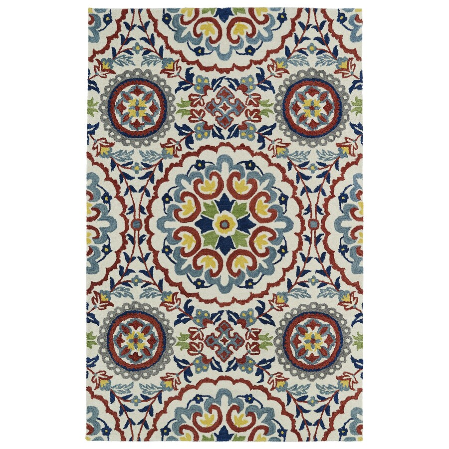Kaleen Global Inspiration Ivory Rectangular Indoor Handcrafted Oriental Area Rug (Common: 5 x 7; Actual: 5-ft W x 7.75-ft L)