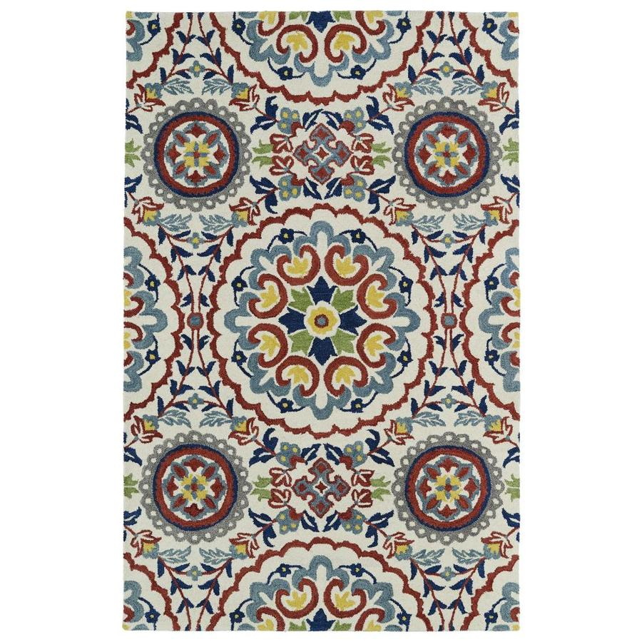 Kaleen Global Inspiration Ivory Rectangular Indoor Handcrafted Southwestern Area Rug (Common: 9 x 12; Actual: 9-ft W x 12-ft L)