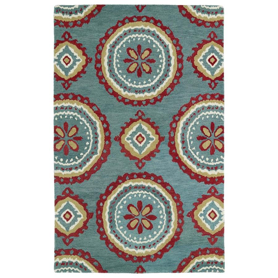 Kaleen Global Inspiration Teal Indoor Handcrafted Southwestern Area Rug (Common: 5 x 8; Actual: 5-ft W x 7.75-ft L)
