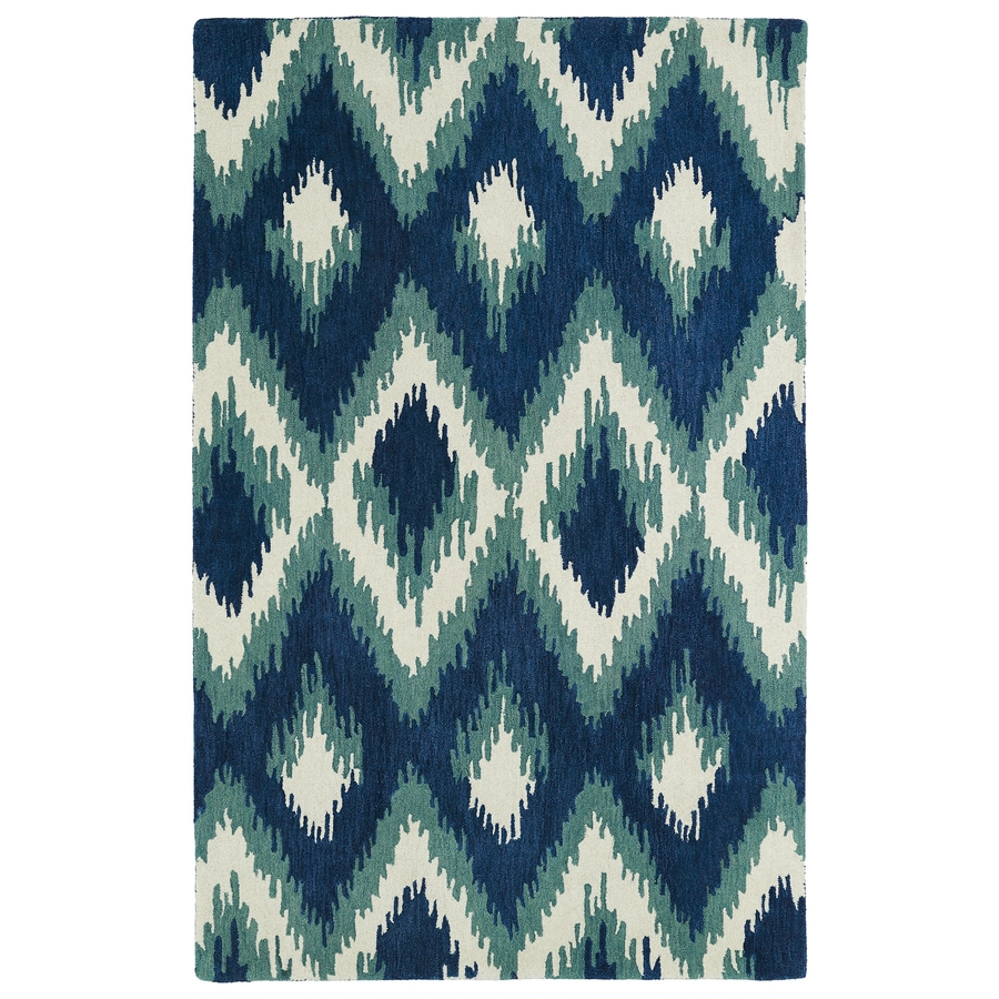 Kaleen Global Inspiration Blue Rectangular Indoor Handcrafted Southwestern Area Rug (Common: 4 x 6; Actual: 3.5-ft W x 5.5-ft L)