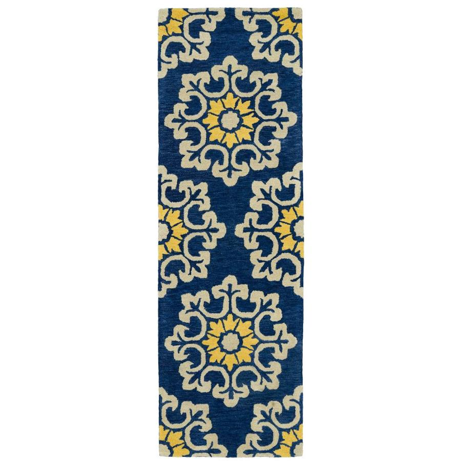 Kaleen Global Inspiration Blue Rectangular Indoor Handcrafted Southwestern Runner (Common: 2 x 8; Actual: 2.5-ft W x 8-ft L)