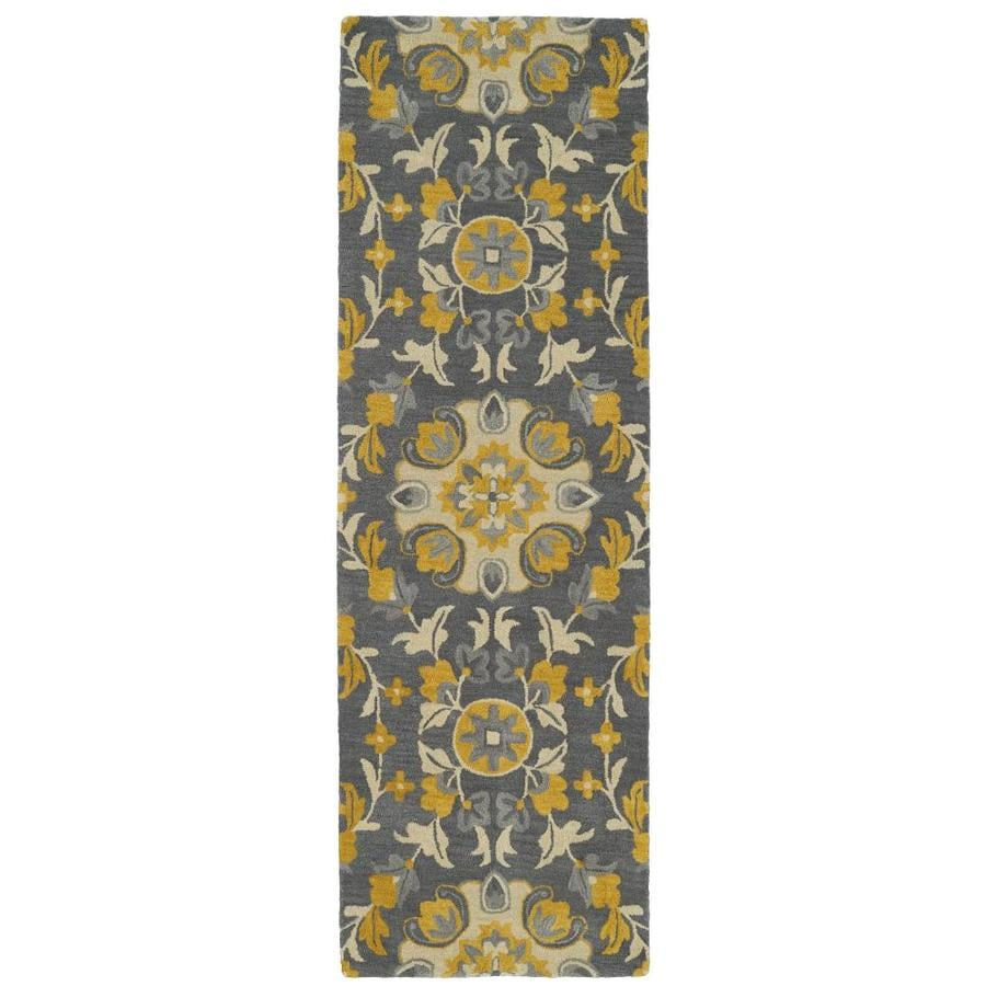 Kaleen Global Inspiration Grey Indoor Handcrafted Southwestern Runner (Common: 2 x 8; Actual: 2.5-ft W x 8-ft L)