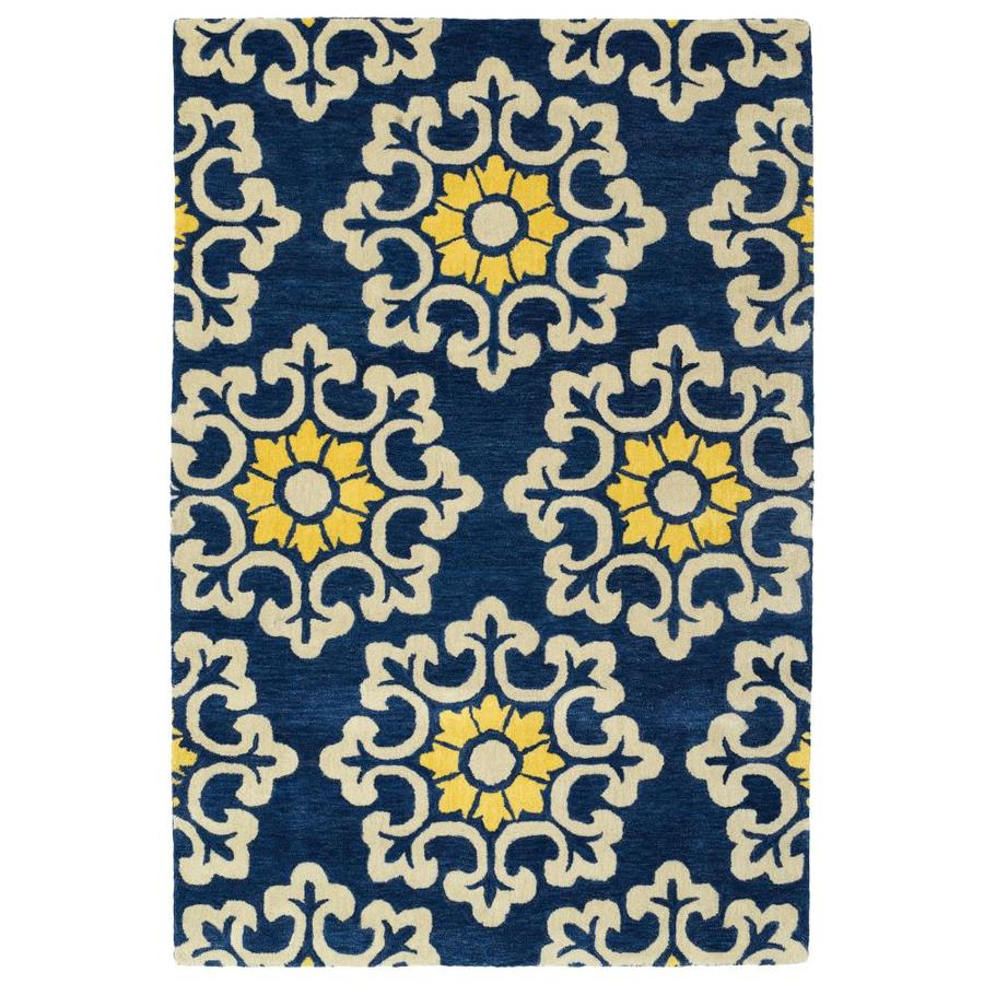 Kaleen Global Inspiration Blue Indoor Handcrafted Southwestern Area Rug (Common: 9 x 12; Actual: 9-ft W x 12-ft L)