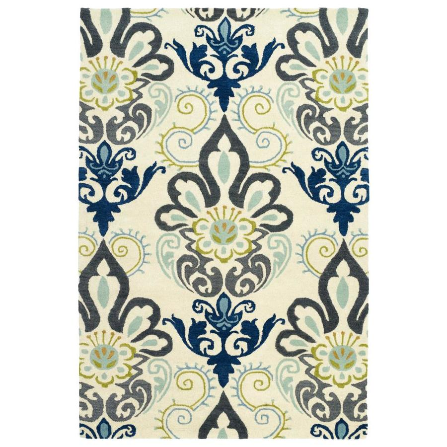 Kaleen Global Inspiration Blue Indoor Handcrafted Southwestern Area Rug (Common: 4 x 6; Actual: 3.5-ft W x 5.5-ft L)