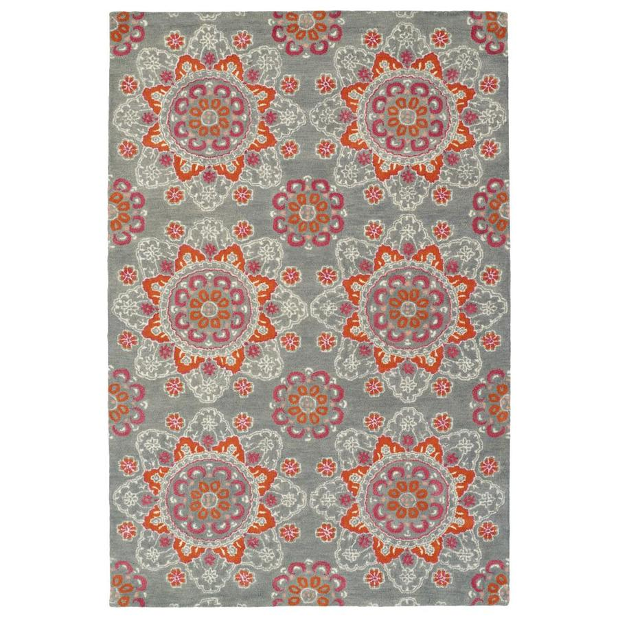 Kaleen Global Inspiration Grey Indoor Handcrafted Southwestern Area Rug (Common: 8 x 10; Actual: 8-ft W x 10-ft L)
