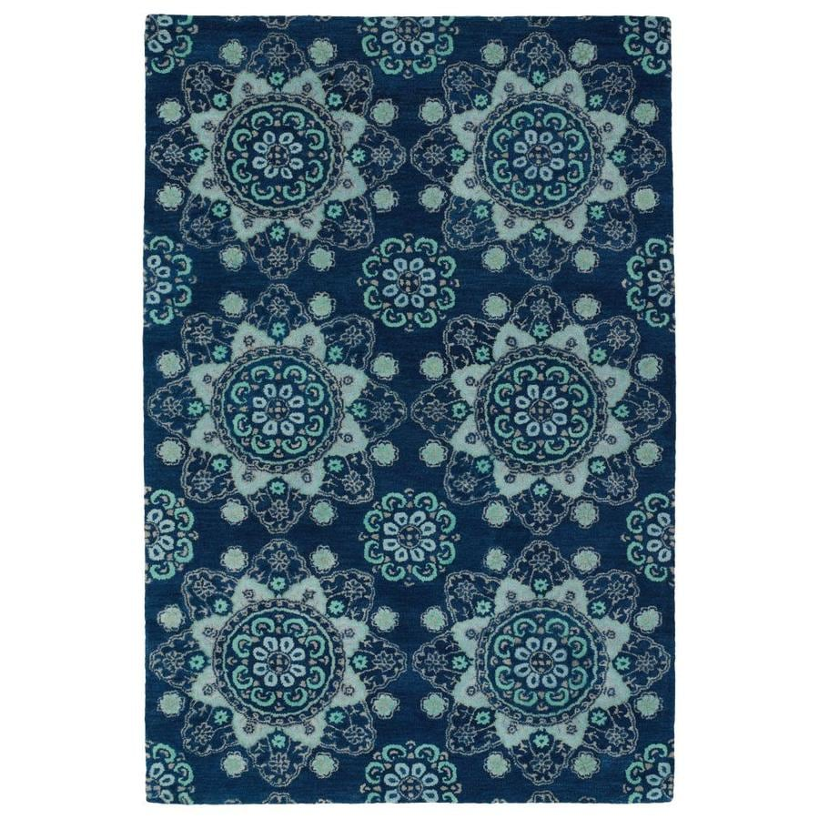 Kaleen Global Inspiration Navy Indoor Handcrafted Southwestern Area Rug (Common: 5 x 8; Actual: 5-ft W x 7.75-ft L)