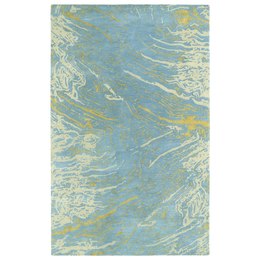 Kaleen Brushstrokes Blue Rectangular Indoor Handcrafted Distressed Area Rug (Common: 4 x 6; Actual: 3.5-ft W x 5.5-ft L)