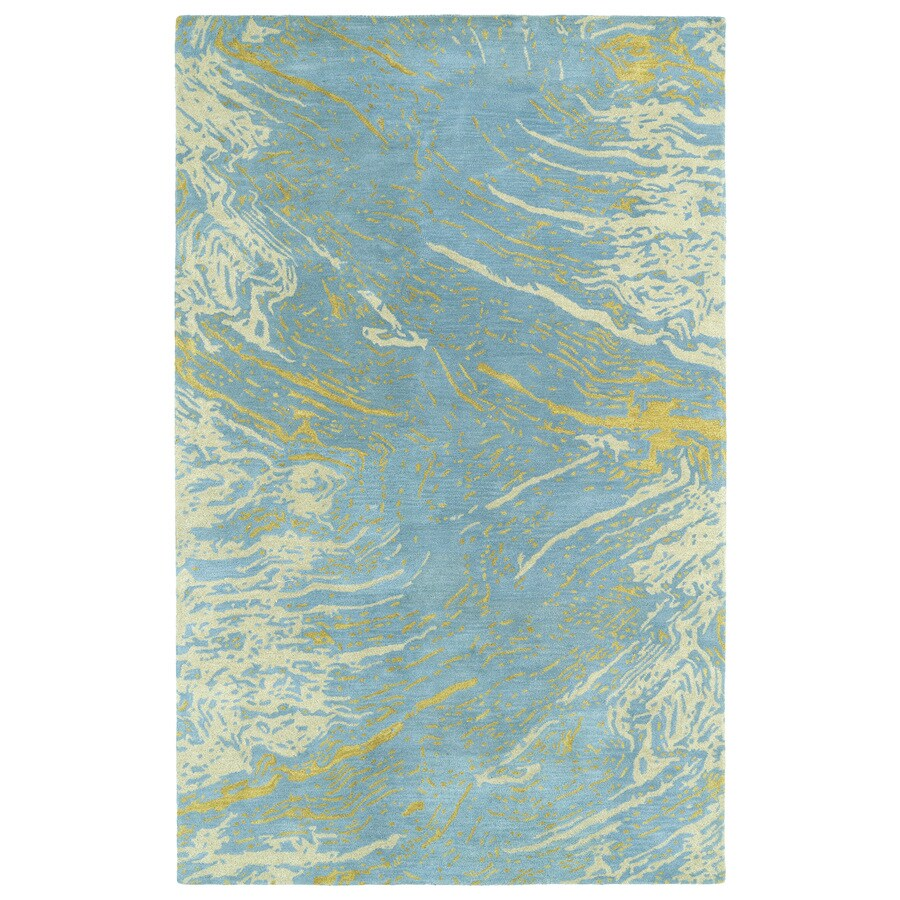 Kaleen Brushstrokes Blue Indoor Handcrafted Distressed Area Rug (Common: 5 x 7; Actual: 5-ft W x 7.75-ft L)