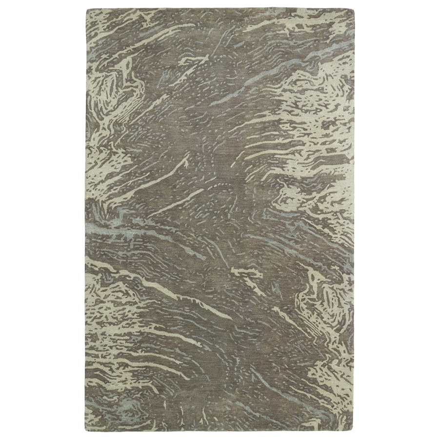 Kaleen Brushstrokes Brown Rectangular Indoor Handcrafted Distressed Area Rug (Common: 5 x 7; Actual: 5-ft W x 7.75-ft L)