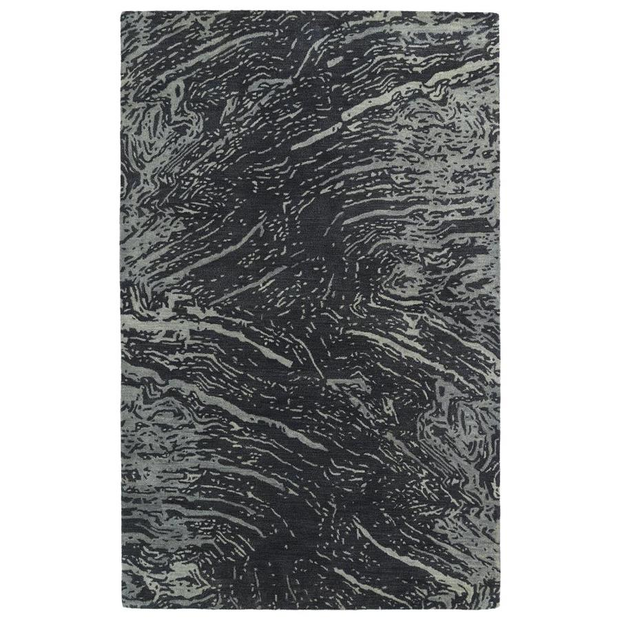 Kaleen Brushstrokes Charcoal Indoor Handcrafted Distressed Throw Rug (Common: 2 x 3; Actual: 2-ft W x 3-ft L)
