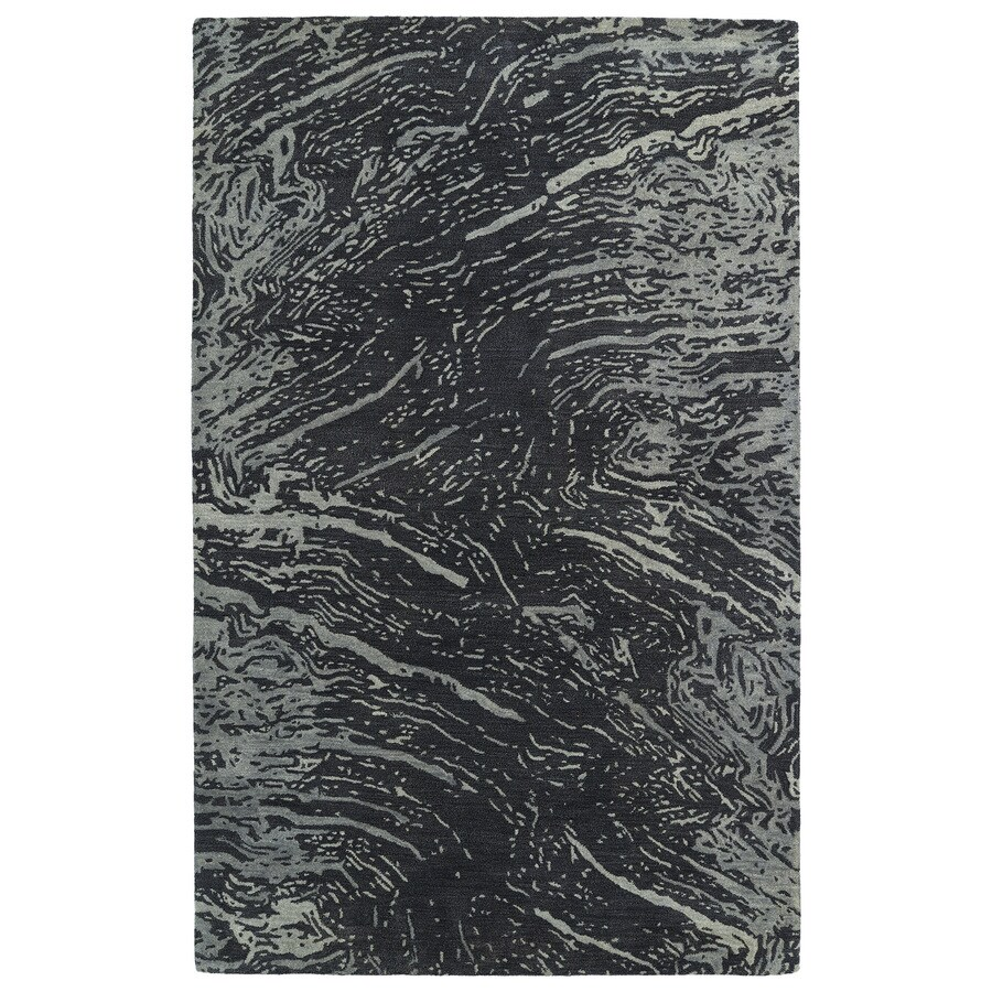 Kaleen Brushstrokes Charcoal Rectangular Indoor Handcrafted Distressed Area Rug (Common: 4 x 6; Actual: 3.5-ft W x 5.5-ft L)