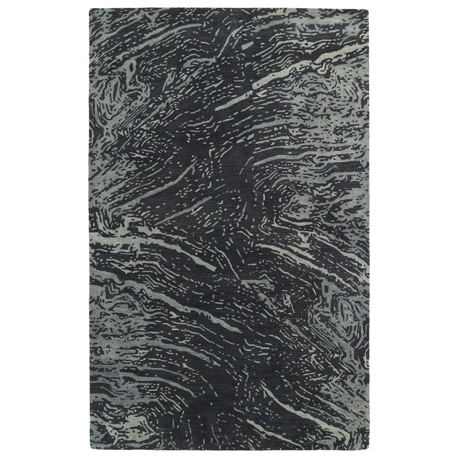 Kaleen Brushstrokes Charcoal Rectangular Indoor Handcrafted Distressed Area Rug (Common: 9 x 12; Actual: 9.5-ft W x 13-ft L)