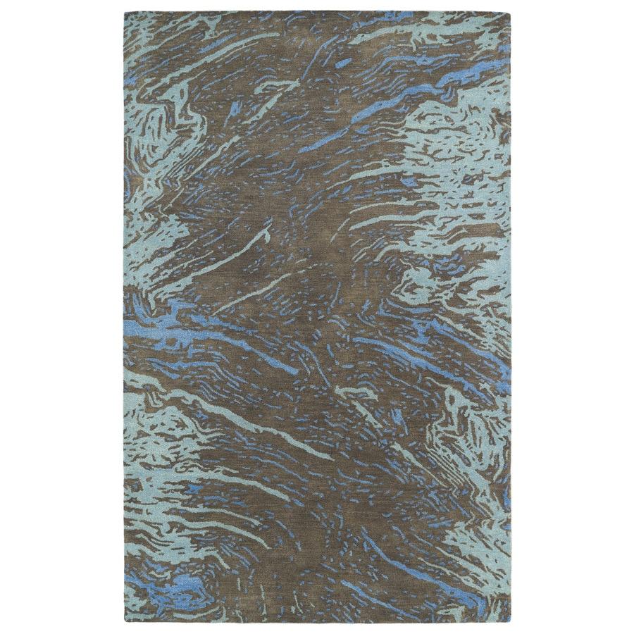 Kaleen Brushstrokes Chocolate Rectangular Indoor Handcrafted Distressed Area Rug (Common: 9 x 12; Actual: 9.5-ft W x 13-ft L)