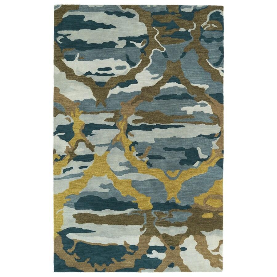 Kaleen Brushstrokes Blue Rectangular Indoor Handcrafted Distressed Area Rug (Common: 4 x 6; Actual: 3.5-ft W x 5.5-ft L)