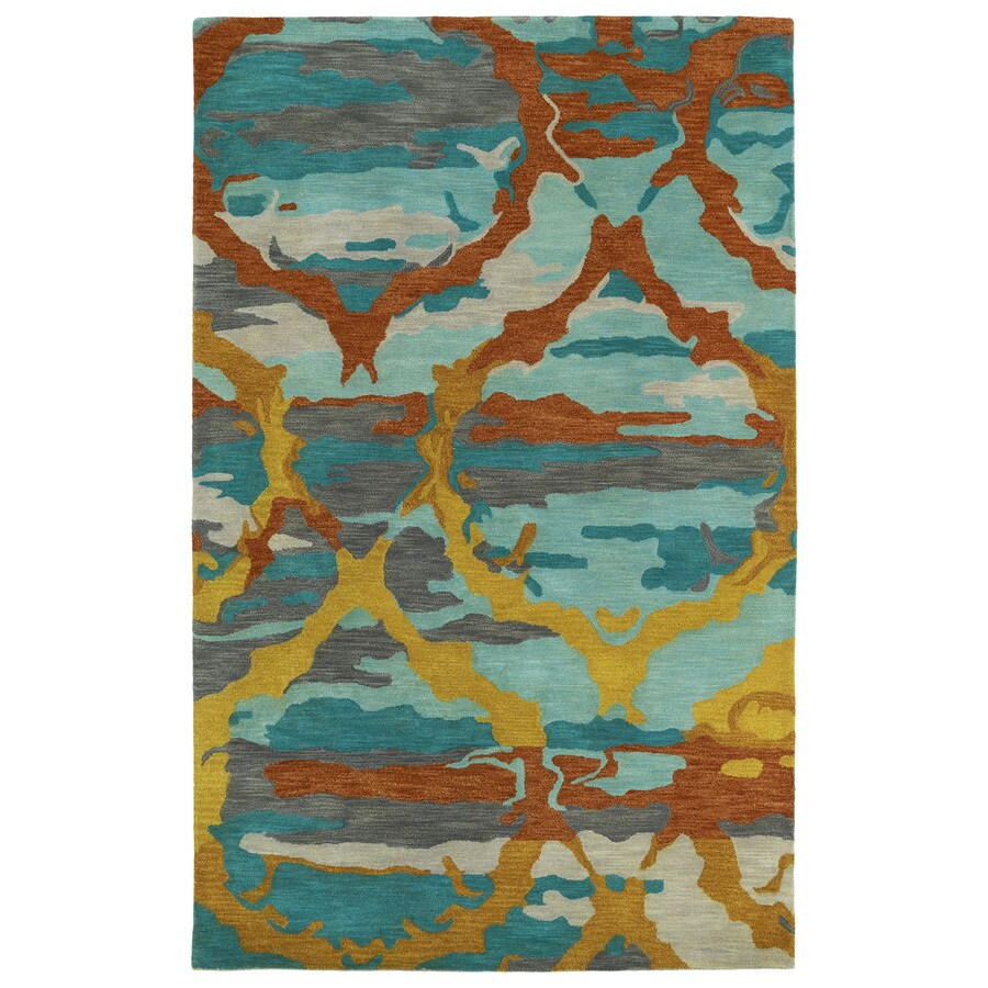 Kaleen Brushstrokes Teal Rectangular Indoor Handcrafted Distressed Area Rug (Common: 9 x 12; Actual: 9.5-ft W x 13-ft L)