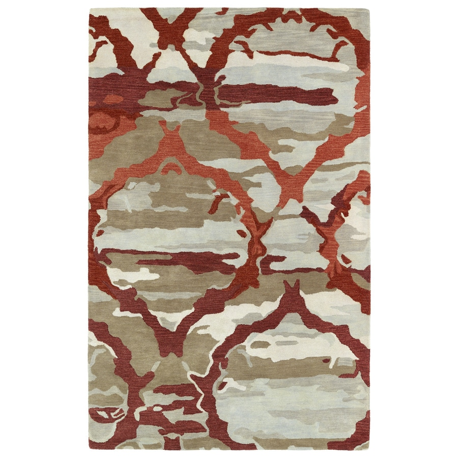 Kaleen Brushstrokes Red Rectangular Indoor Tufted Distressed Area Rug (Common: 5 x 8; Actual: 5-ft W x 7.75-ft L)