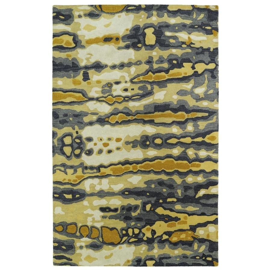 Kaleen Brushstrokes Gold Indoor Handcrafted Distressed Throw Rug (Common: 2 x 3; Actual: 2-ft W x 3-ft L)