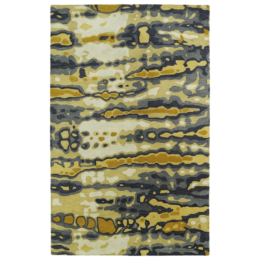 Kaleen Brushstrokes Gold Rectangular Indoor Handcrafted Distressed Area Rug (Common: 4 x 6; Actual: 3.5-ft W x 5.5-ft L x 0-ft Dia)