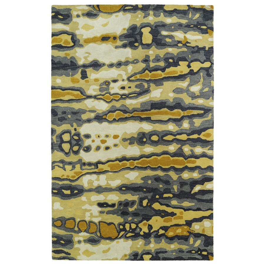 Kaleen Brushstrokes Gold Indoor Handcrafted Distressed Area Rug (Common: 9 x 12; Actual: 9.5-ft W x 13-ft L)